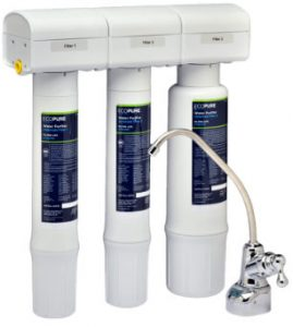 Water Purifier Filtration System includes 3 filters and chrome faucet